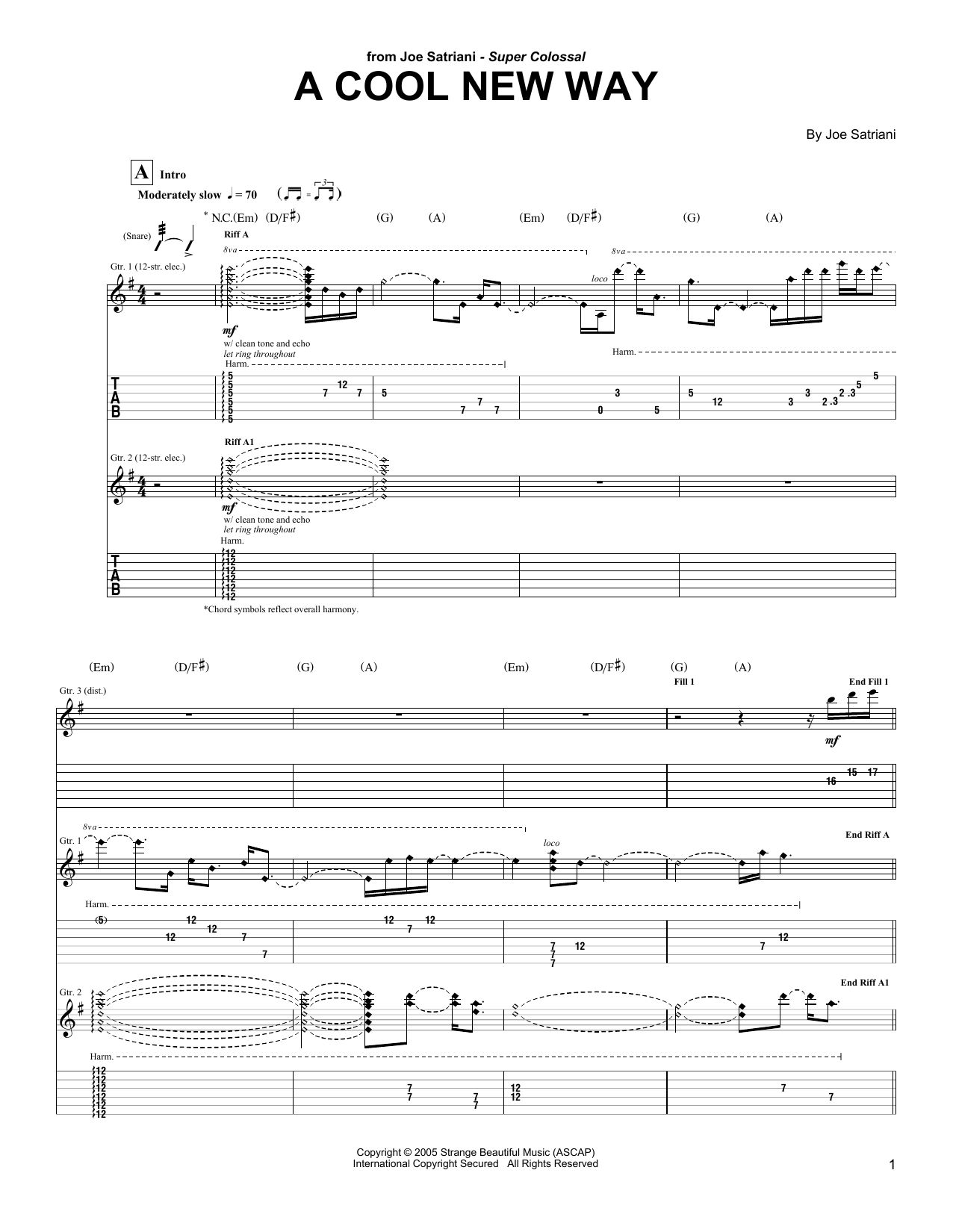 Tablature guitare A Cool New Way de Joe Satriani - Tablature Guitare