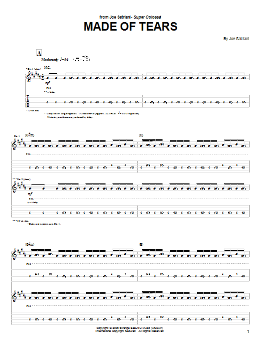 Tablature guitare Made Of Tears de Joe Satriani - Tablature Guitare