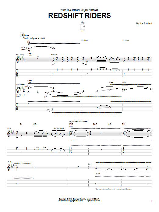 Tablature guitare Redshift Riders de Joe Satriani - Tablature Guitare