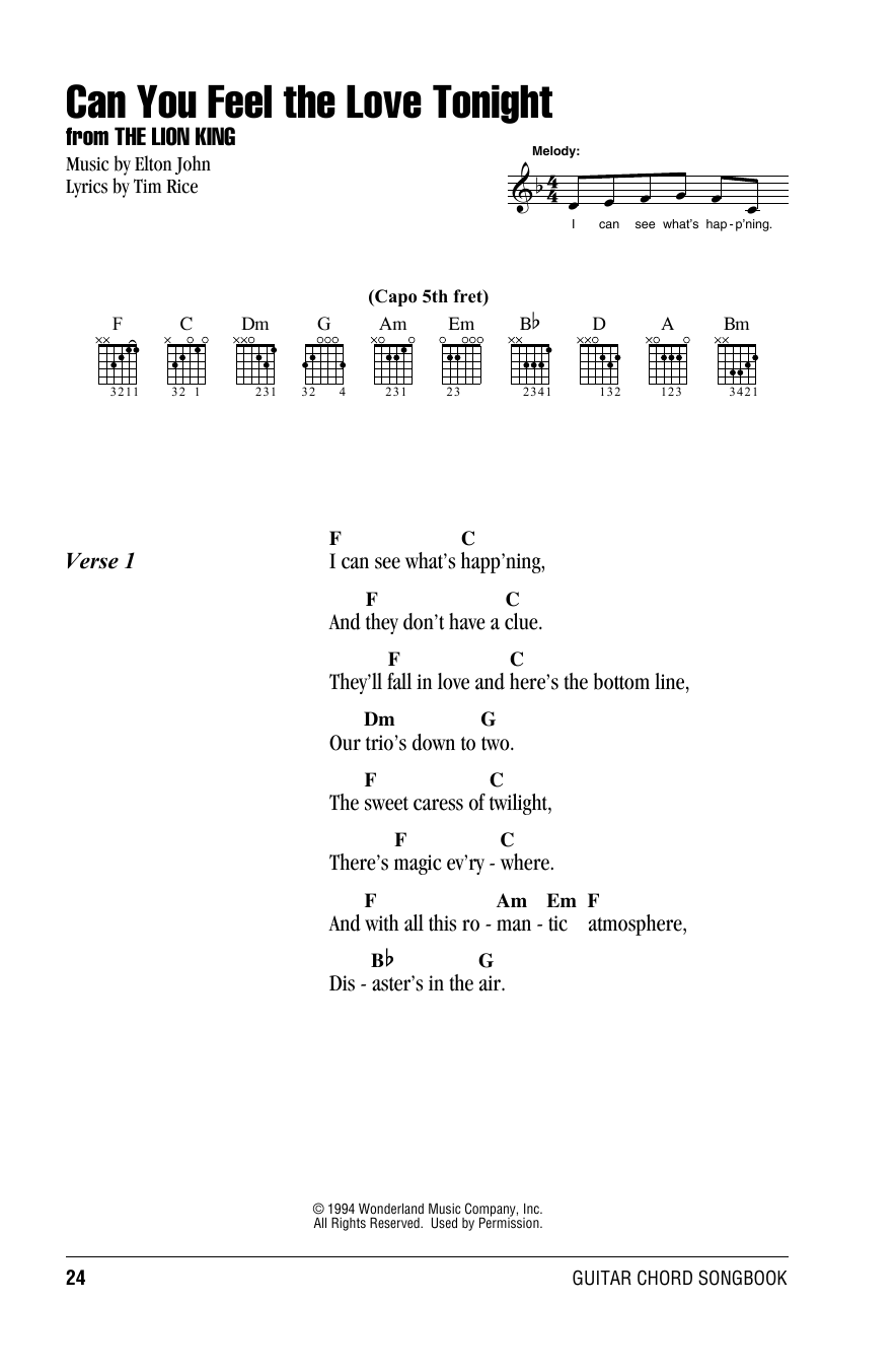 Can You Feel The Love Tonight Sheet Music By Elton John Lyrics