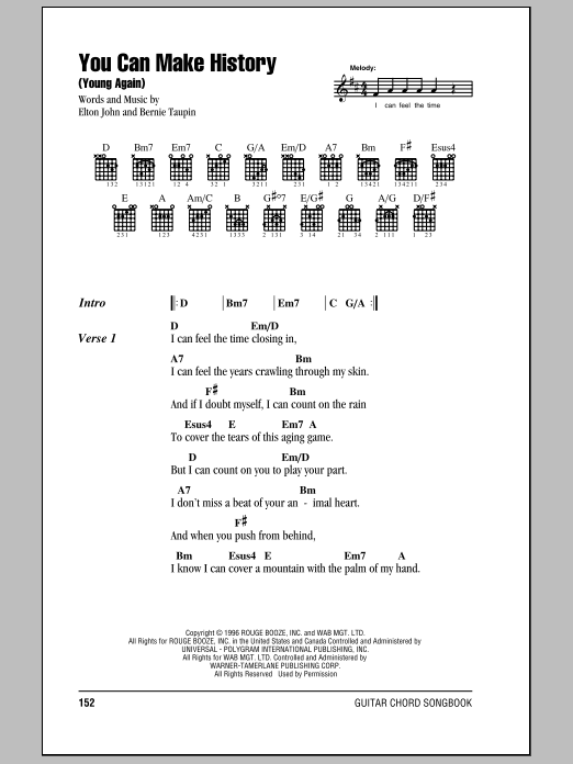 You Can Make History (Young Again) Sheet Music