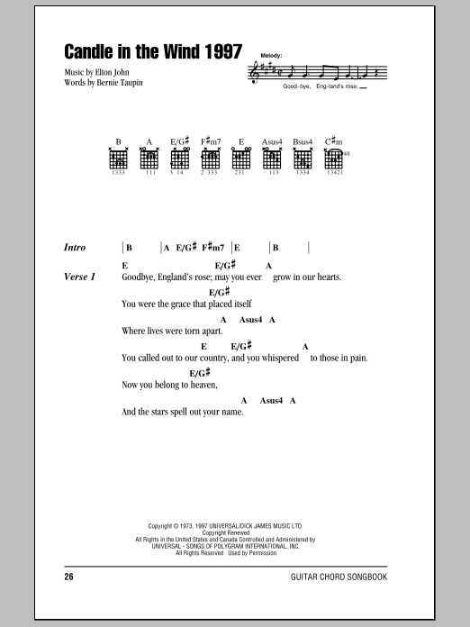 Candle In The Wind 1997 Sheet Music