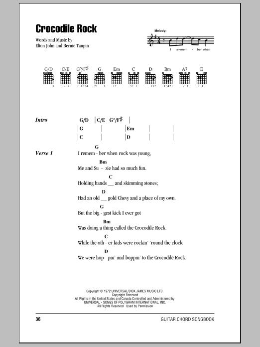Crocodile Rock Sheet Music