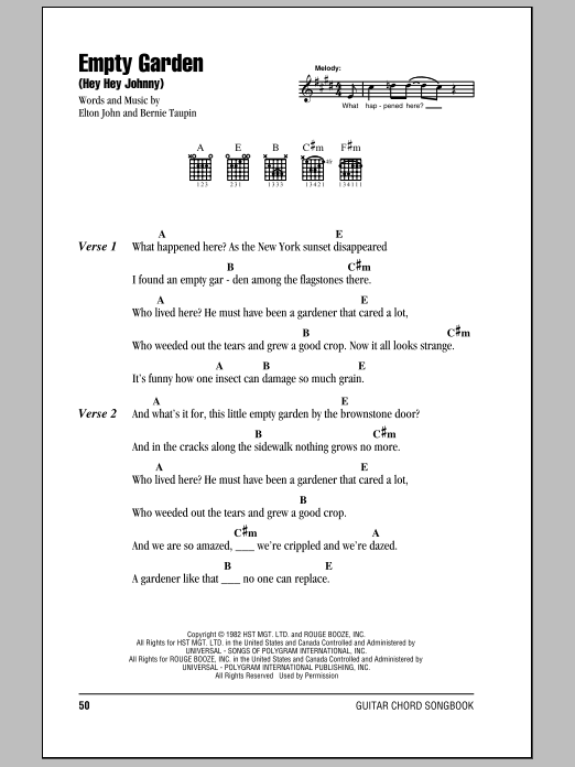 Empty Garden (Hey Hey Johnny) Sheet Music