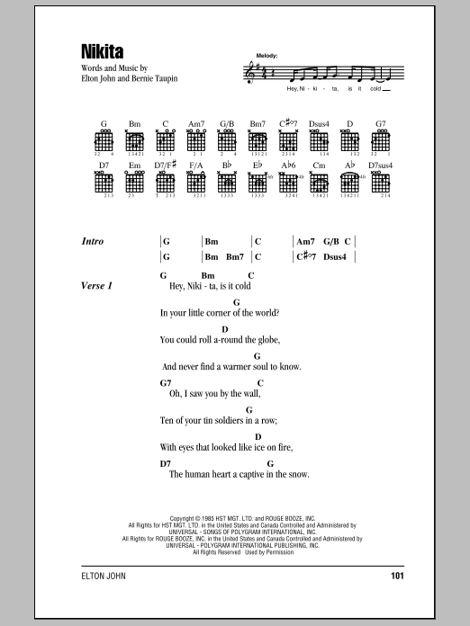 Nikita Sheet Music