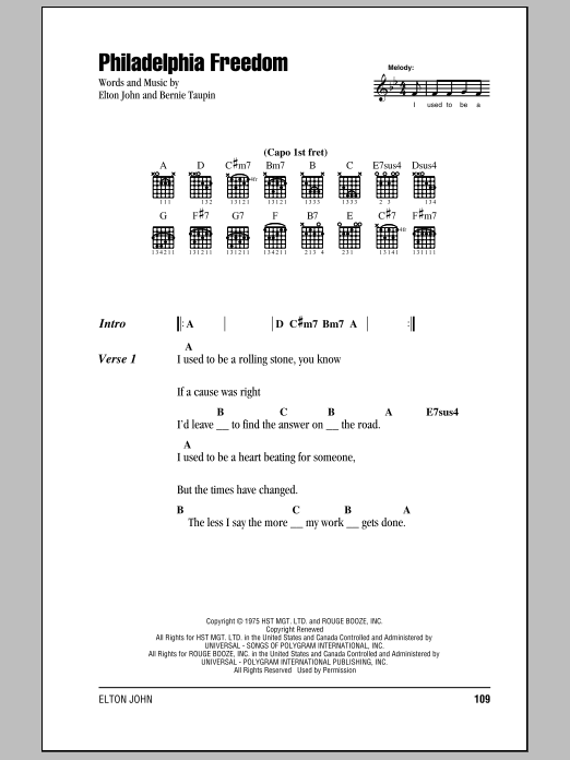Philadelphia Freedom Sheet Music