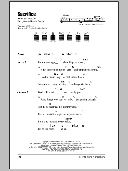 Sacrifice sheet music by Elton John (Lyrics & Chords – 78979)