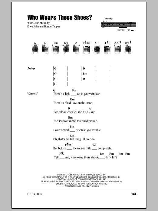 Who Wears These Shoes? (Guitar Chords/Lyrics)