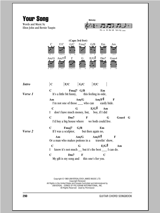 Guitar guitar chords your song : Your Song by Elton John - Guitar Chords/Lyrics - Guitar Instructor