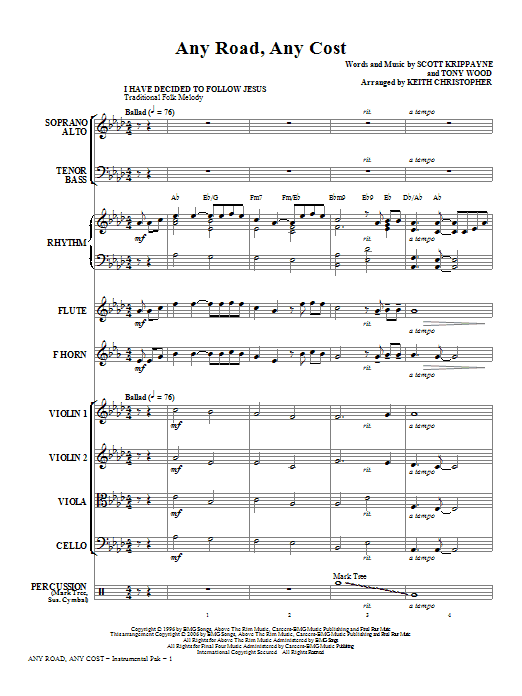 Any Road, Any Cost (complete set of parts) sheet music for orchestra/band (chamber ensemble) by Keith Christopher, Scott Krippayne and Tony Wood. Score Image Preview.