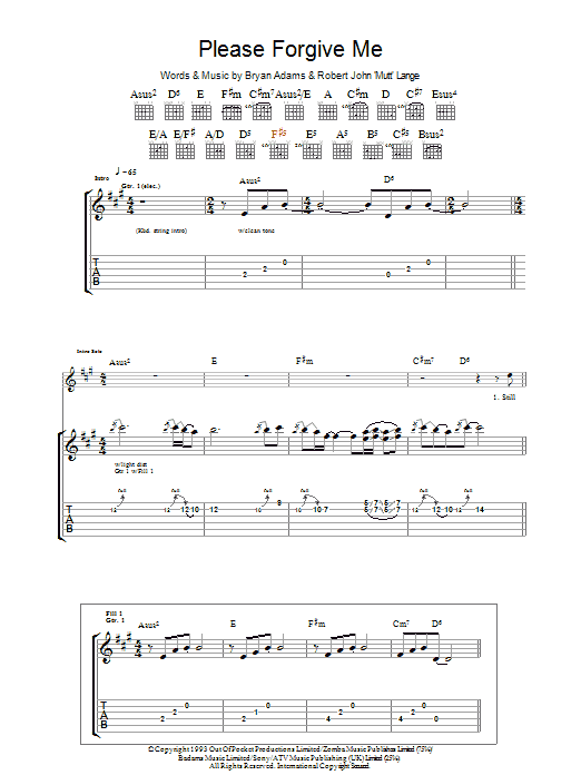 Please Forgive Me by Bryan Adams - Guitar Tab - Guitar