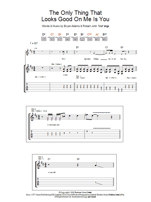 The Only Thing That Looks Good On Me Is You (Guitar Tab)