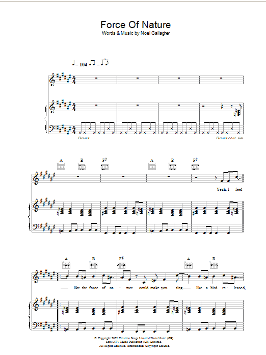 Force Of Nature (Piano, Vocal & Guitar)