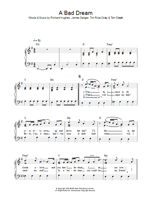 A Bad Dream Sheet Music