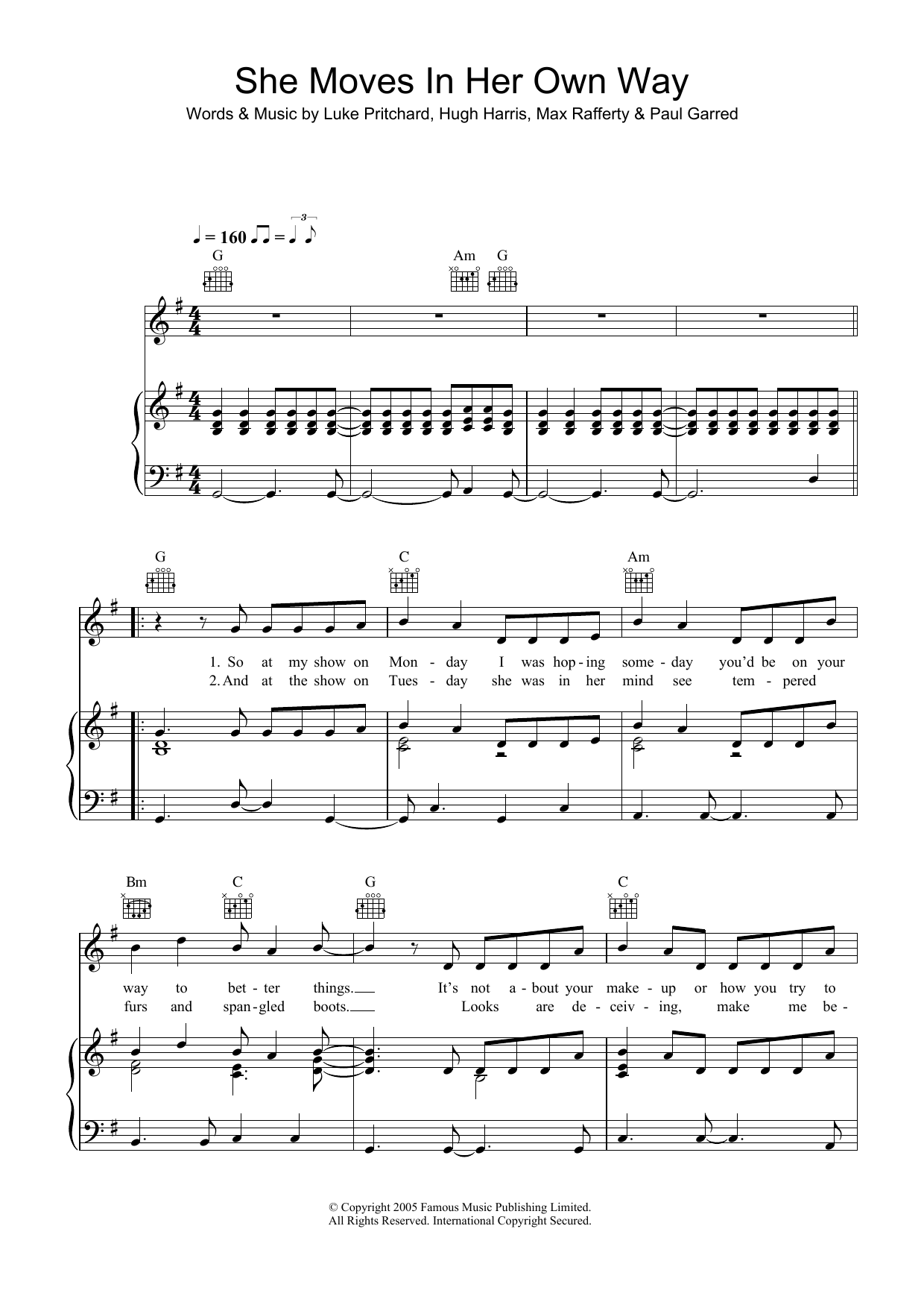She Moves In Her Own Way (Piano, Vocal & Guitar)