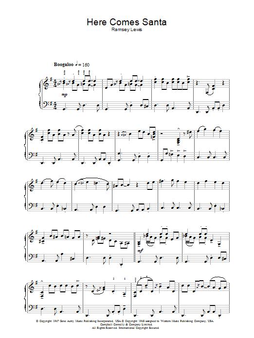 Here Comes Santa Claus (Right Down Santa Claus Lane) (Piano Solo)