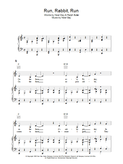 Run, Rabbit, Run (Piano, Vocal & Guitar)