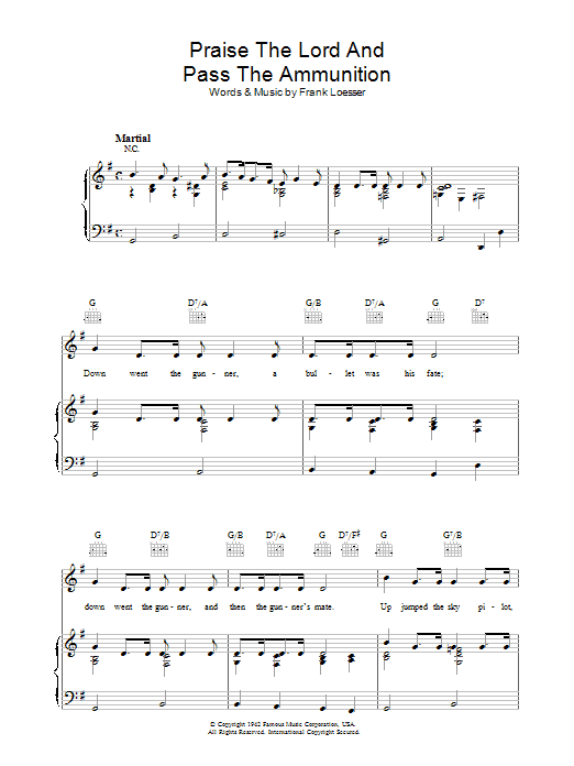 Praise The Lord And Pass The Ammunition (Piano, Vocal & Guitar)