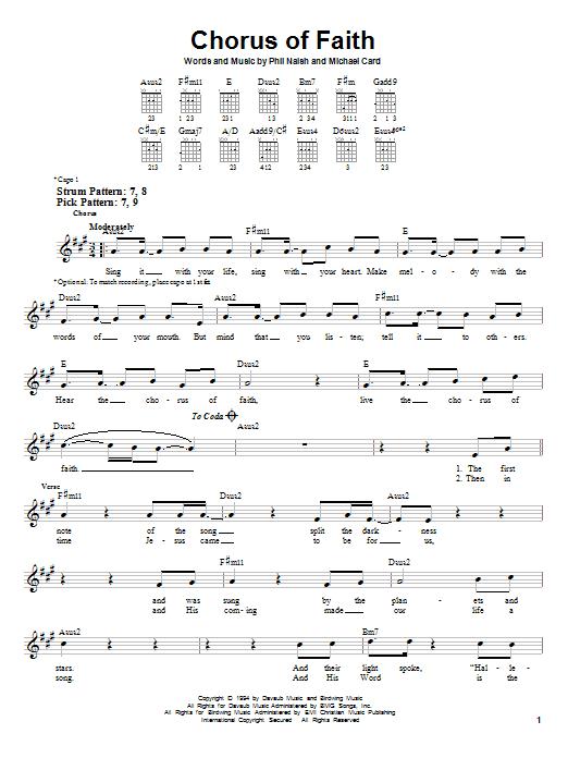 Tablature guitare Chorus Of Faith de Michael Card - Tablature guitare facile