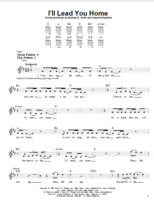 Tablature guitare I'll Lead You Home de Michael W. Smith - Tablature guitare facile