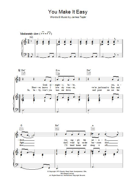 You Make It Easy (Piano, Vocal & Guitar)