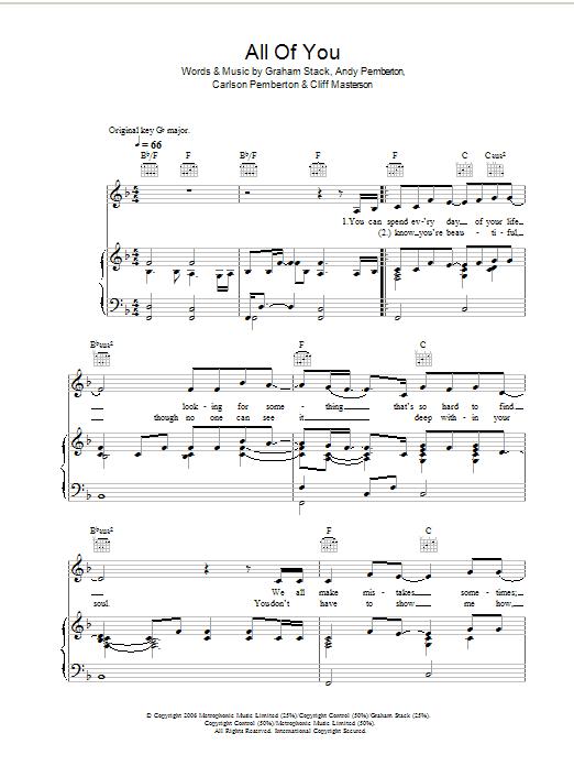 All Of You (Piano, Vocal & Guitar)