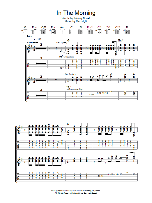 In The Morning (Guitar Tab)