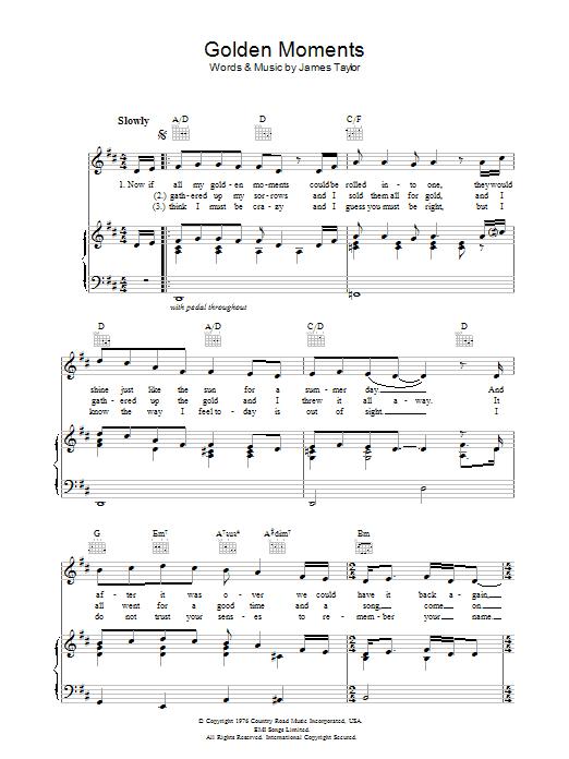 Golden Moments (Piano, Vocal & Guitar)