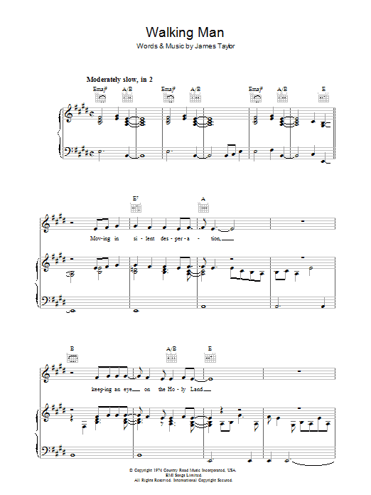 Walking Man (Piano, Vocal & Guitar)