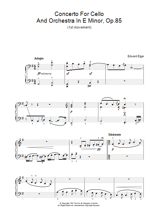 Concerto For Cello And Orchestra In E Minor, Op.85 (Piano Solo)