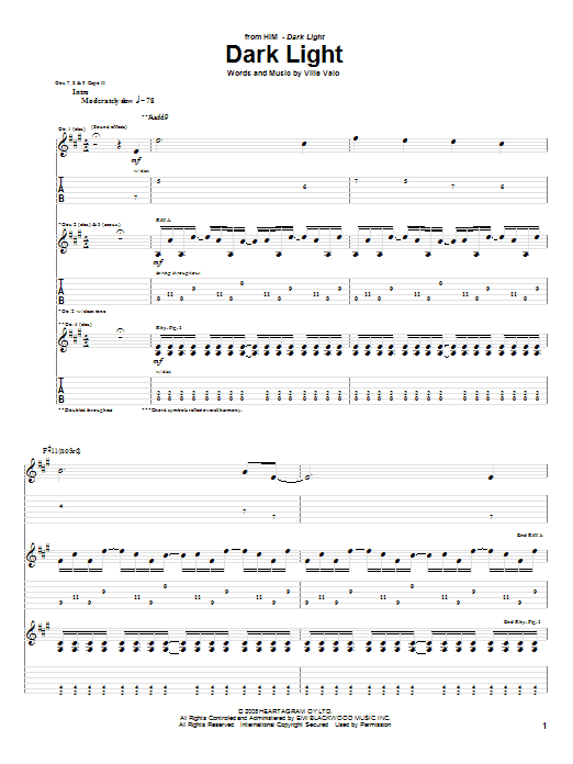Dark Light Sheet Music