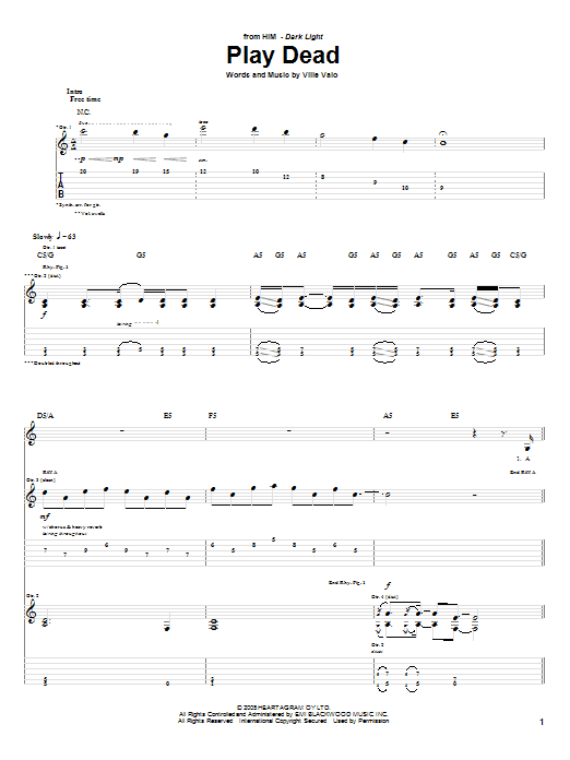 Tablature guitare Play Dead de H.I.M. - Tablature Guitare