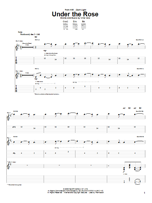 Tablature guitare Under The Rose de H.I.M. - Tablature Guitare