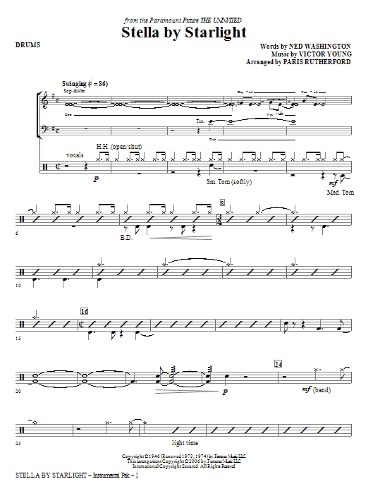 Stella By Starlight - Drums Sheet Music