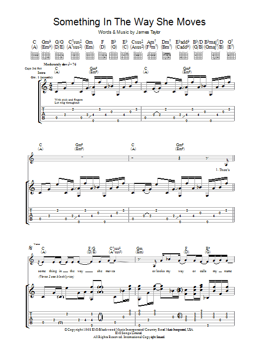 Something In The Way She Moves by James Taylor - Guitar Tab - Guitar ...