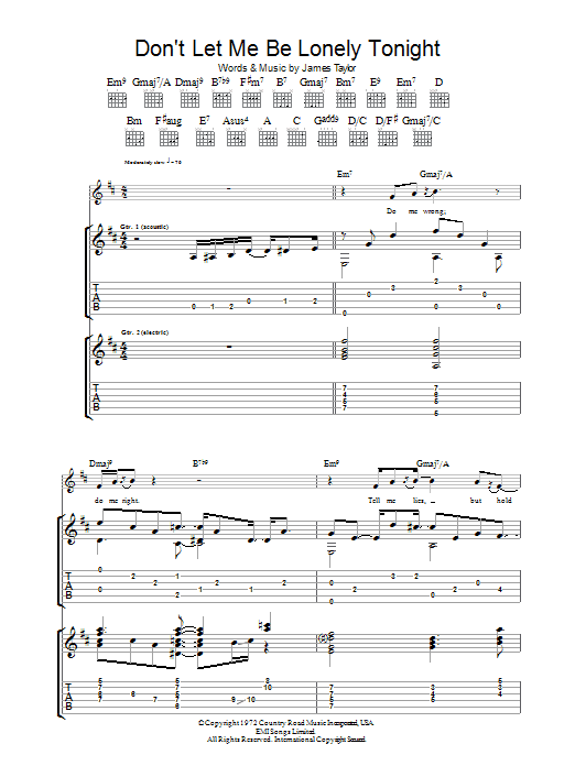 Don't Let Me Be Lonely Tonight Sheet Music