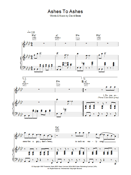 Ashes To Ashes (Piano, Vocal & Guitar)
