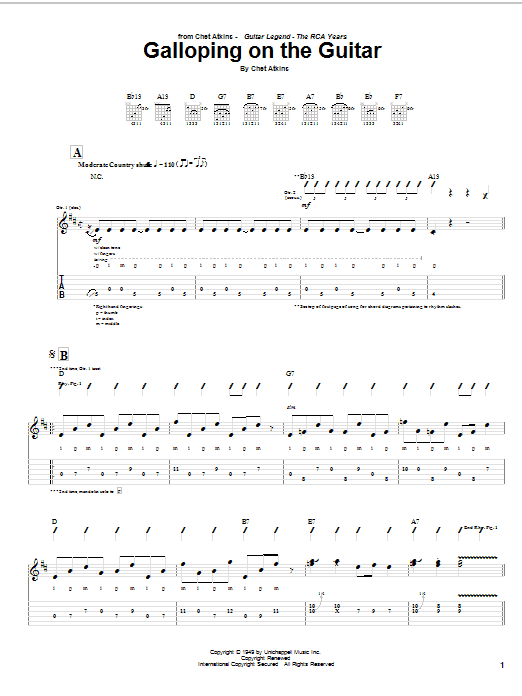 Tablature guitare Galloping On The Guitar de Chet Atkins - Tablature Guitare