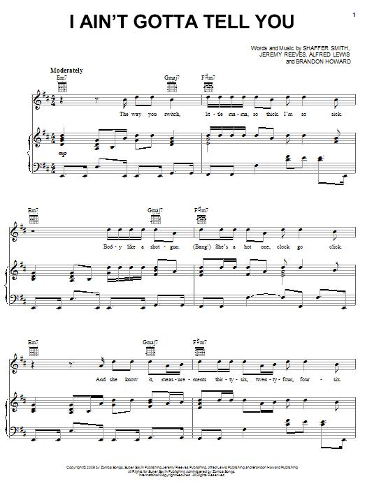 Partition piano I Ain't Gotta Tell You de Ne-Yo - Piano Voix Guitare (Mélodie Main Droite)