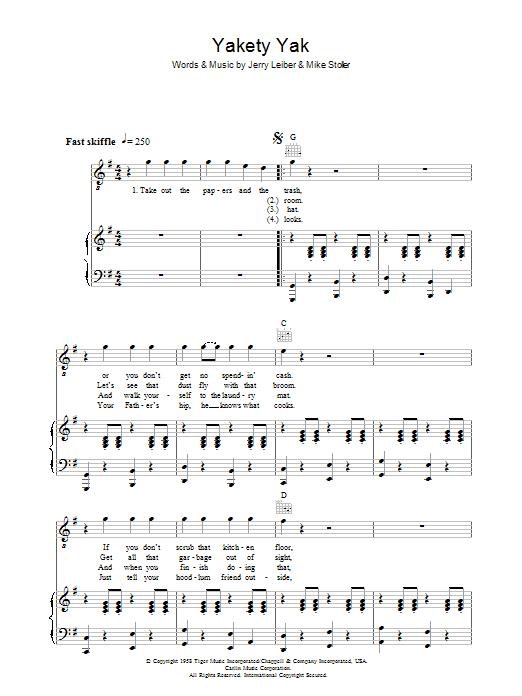 Yakety Yak (Piano, Vocal & Guitar)