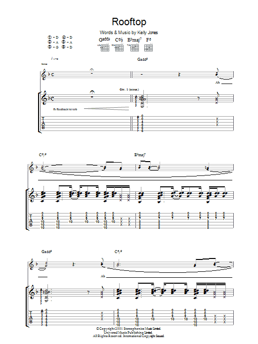 Rooftop Guitar Tab by Stereophonics (Guitar Tab – 36778)