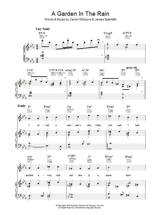 A Garden In The Rain (Piano, Vocal & Guitar)