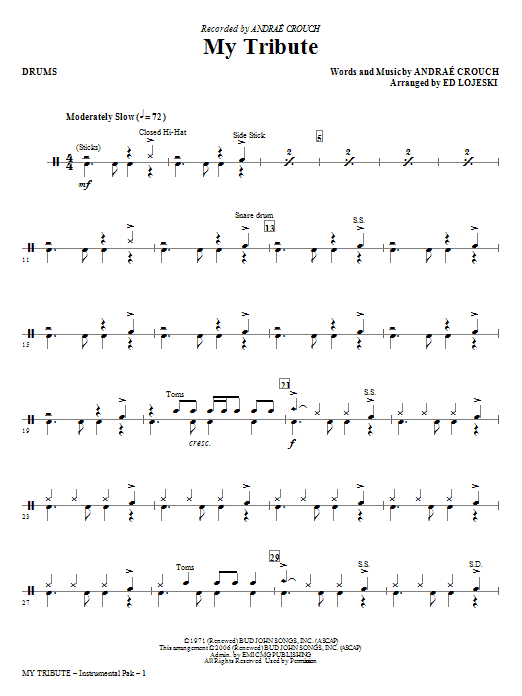 My Tribute - Drums Sheet Music