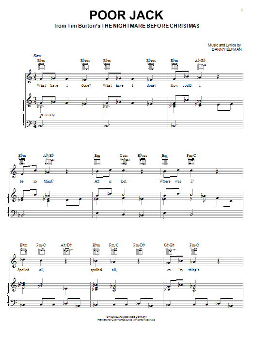 Nightmare Before Christmas Piano Sheet Music.Poor Jack From The Nightmare Before Christmas Piano Vocal Guitar Right Hand Melody
