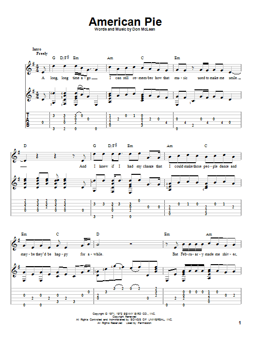 Tablature guitare American Pie de Don McLean - Tablature Guitare