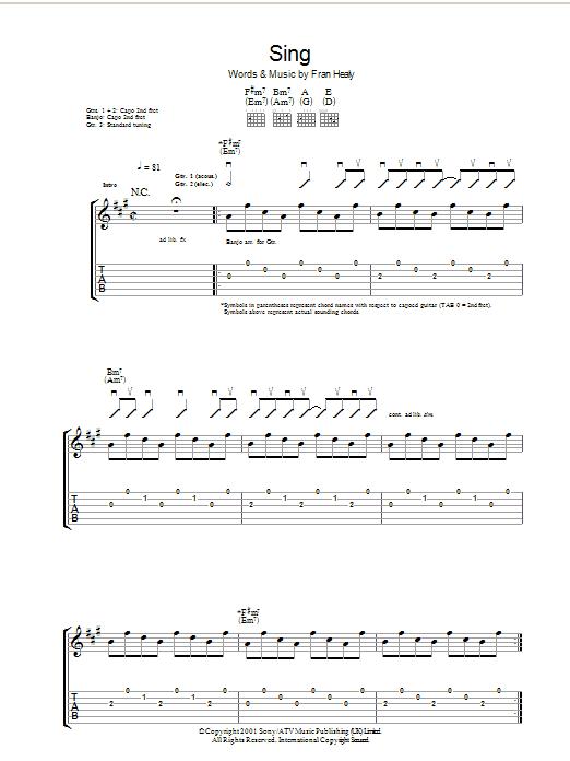 Sing (Guitar Tab)