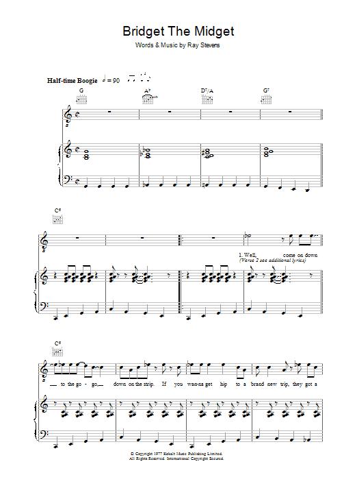 Bridget The Midget (Piano, Vocal & Guitar)
