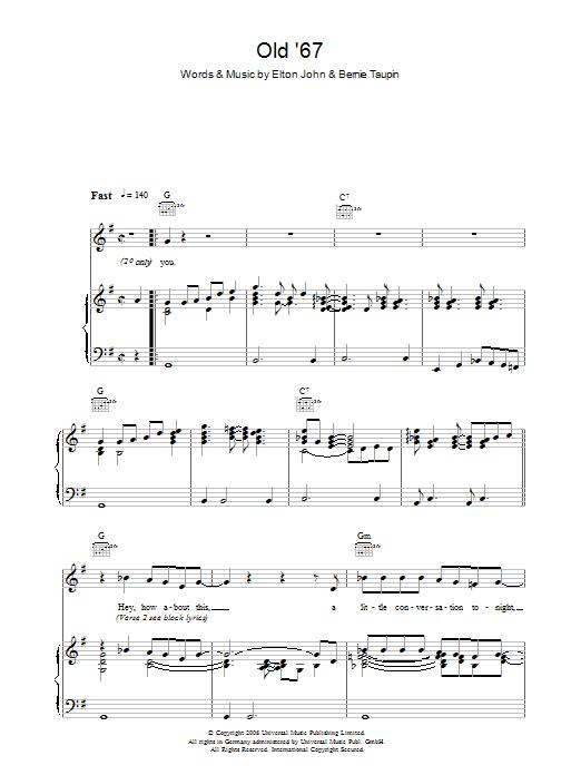 Old 67 Sheet Music