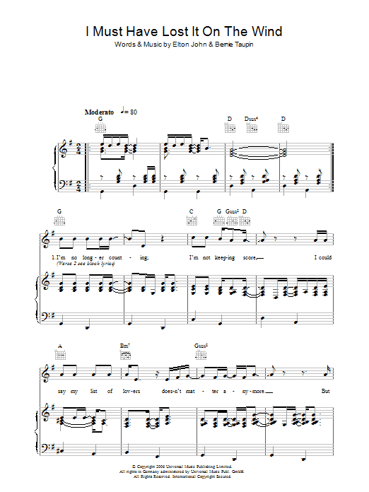 I Must Have Lost It On The Wind Sheet Music