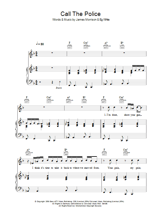 Call The Police Sheet Music